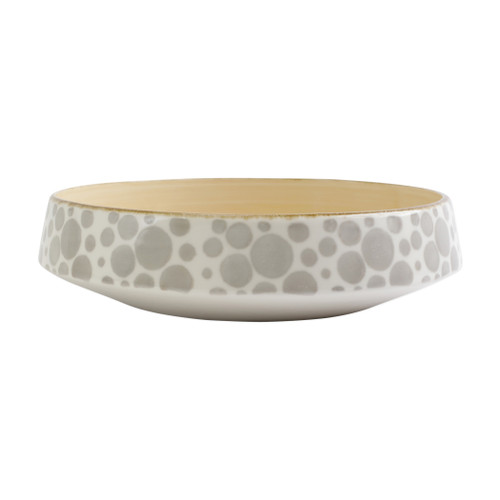 """Vietri VIVA Earth Bubble Large Shallow Bowl  VETH-003032 12""""D, 3.25""""H  Warm, neutral tones handpainted on angled silhouettes work in unison to create everyday essentials in four versatile patterns- bubble, bamboo, eggshell, and flower.  Handpainted on hard ceramic in Portugal. Dishwasher and microwave safe."""