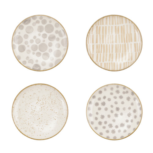 """Vietri VIVA Earth Assorted Cocktail Plates Set/4  VETH-003019 6.75""""D  Warm, neutral tones handpainted on angled silhouettes work in unison to create everyday essentials in four versatile patterns- bubble, bamboo, eggshell, and flower.  Handpainted on hard ceramic in Portugal. Dishwasher and microwave safe."""