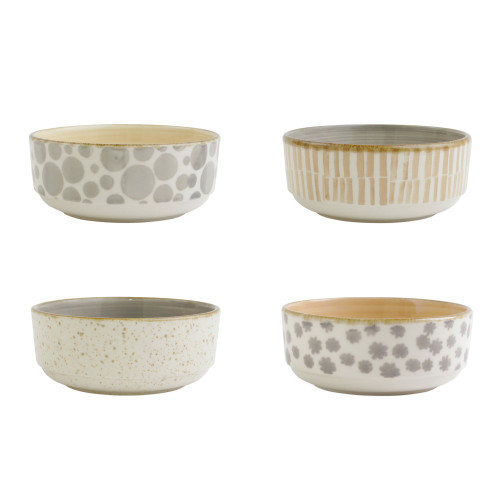 """Vietri VIVA Earth Assorted Small Bowls Set/4  VETH-003006 6""""D, 2.75""""H  Warm, neutral tones handpainted on angled silhouettes work in unison to create everyday essentials in four versatile patterns- bubble, bamboo, eggshell, and flower.  Handpainted on hard ceramic in Portugal. Dishwasher and microwave safe."""