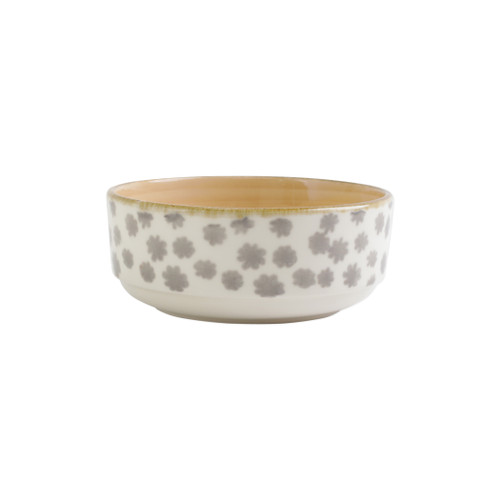 """Vietri VIVA Earth Flower Small Bowl  VETH-003006D 6""""D, 2.75""""H  Warm, neutral tones handpainted on angled silhouettes work in unison to create everyday essentials in four versatile patterns- bubble, bamboo, eggshell, and flower.  Handpainted on hard ceramic in Portugal. Dishwasher and microwave safe."""