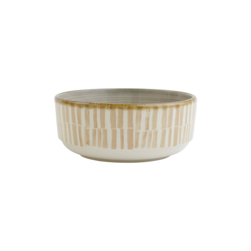 "Vietri VIVA Earth Bamboo Small Bowl  VETH-003006B 6""D, 2.75""H  Warm, neutral tones handpainted on angled silhouettes work in unison to create everyday essentials in four versatile patterns- bubble, bamboo, eggshell, and flower.  Handpainted on hard ceramic in Portugal. Dishwasher and microwave safe."