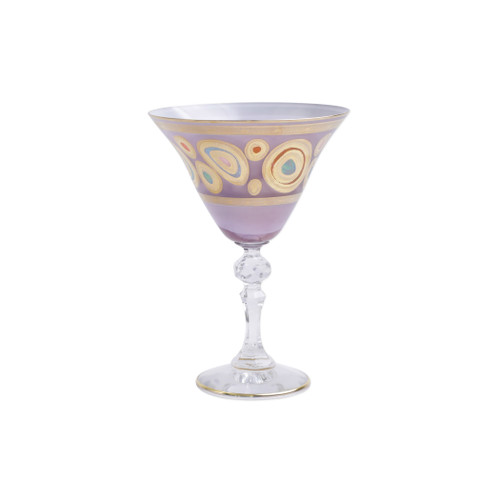 "Vietri Regalia Glass Purple Martini Glass  RGI-7655P 6.5""H, 9.5oz  Ornate emblems and decorations indicative of royalty inspired this unique drinkware collection. The Vietri Regalia Martini Glass from plumpuddingkitchen.com is handpainted in 14-karat gold."