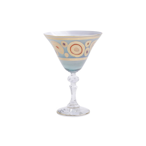 "Vietri Regalia Glass Aqua Martini Glass  RGI-7655A 6.5""H, 9.5oz  Ornate emblems and decorations indicative of royalty inspired this unique drinkware collection. The Vietri Regalia Martini Glass from plumpuddingkitchen.com is handpainted in 14-karat gold."