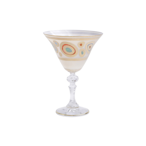 "Vietri Regalia Glass Cream Martini Glass  RGI-7655C 6.5""H, 9.5oz  Ornate emblems and decorations indicative of royalty inspired this unique drinkware collection. The Vietri Regalia Martini Glass from plumpuddingkitchen.com is handpainted in 14-karat gold."