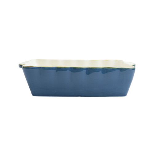"""Vietri Blue Medium Rectangular Italian Baker  ITB-B2952  """"Featuring scalloped edges, the Italian Bakers Medium Rectangular Baker from plumpuddingkitchen.com is handcrafted of Italian stoneware in Umbria. This unique size and fun shape is perfect for holiday gatherings and family get-togethers. 