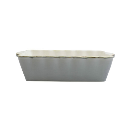 "Vietri Gray Medium Rectangular Italian Baker  ITB-GR2952  ""Featuring scalloped edges, the Italian Bakers Medium Rectangular Baker from plumpuddingkitchen.com is handcrafted of Italian stoneware in Umbria. This unique size and fun shape is perfect for holiday gatherings and family get-togethers. 