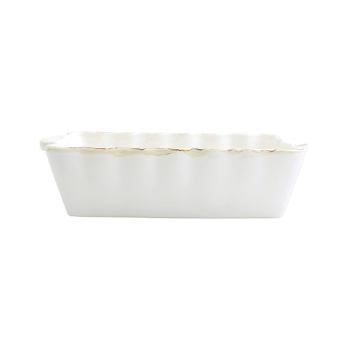 """Vietri White Medium Rectangular Italian Baker  ITB-W2952 """"Featuring scalloped edges, the Italian Bakers Medium Rectangular Baker from plumpuddingkitchen.com is handcrafted of Italian stoneware in Umbria. This unique size and fun shape is perfect for holiday gatherings and family get-togethers. 