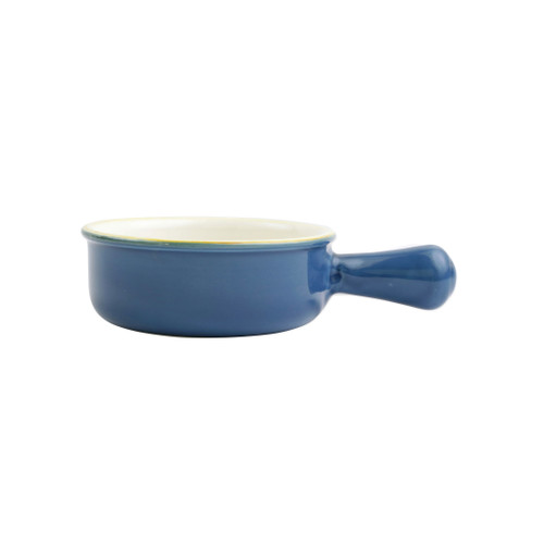 "Vietri Blue Small Round Italian Baker  ITB-B2956  ""Featuring scalloped edges, the Italian Bakers Small Round Baker with Large Handle from plumpuddingkitchen.com is handcrafted of Italian stoneware in Umbria. This unique size and fun shape is perfect for holiday gatherings and family get-togethers. 