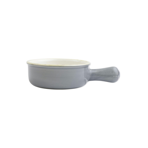 "Vietri Gray Small Round Italian Baker  ITB-GR2956  ""Featuring scalloped edges, the Italian Bakers Small Round Baker with Large Handle from plumpuddingkitchen.com is handcrafted of Italian stoneware in Umbria. This unique size and fun shape is perfect for holiday gatherings and family get-togethers. 
