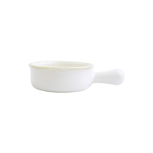 """Vietri White Small Round Italian Baker  ITB-W2956  """"Featuring scalloped edges, the Italian Bakers Small Round Baker with Large Handle from plumpuddingkitchen.com is handcrafted of Italian stoneware in Umbria. This unique size and fun shape is perfect for holiday gatherings and family get-togethers.   Care: Dishwasher, Microwave, Oven, Freezer Safe   Material: Italian Stoneware   Measurement: 7.5""""""""L, 6.25""""""""W, 0.50 Quart"""""""