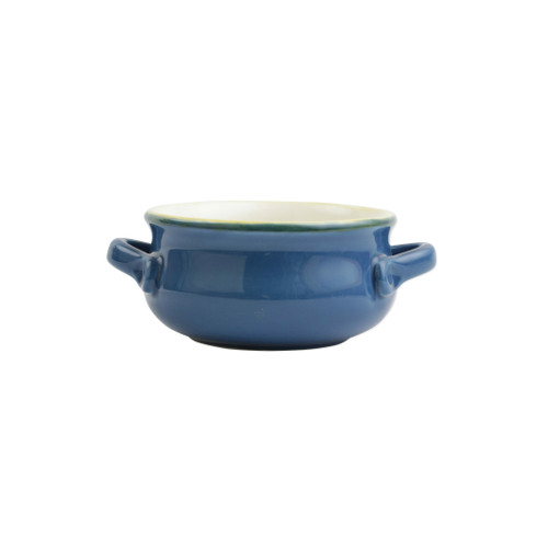"Blue Small Handled Italian Baker  ITB-B2955  ""Featuring scalloped edges, the Italian Bakers Blue Small Handled Round Baker from plumpuddingkitchen.com is handcrafted of Italian stoneware in Umbria. This unique size and fun shape is perfect for holiday gatherings and family get-togethers. 