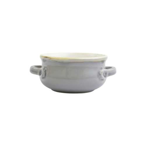 """Vietri Gray Small Handled Italian Baker  ITB-G2955  """"Featuring scalloped edges, the Italian Bakers Blue Small Handled Round Baker from plumpuddingkitchen.com is handcrafted of Italian stoneware in Umbria. This unique size and fun shape is perfect for holiday gatherings and family get-togethers.   Care: Dishwasher, Microwave, Oven, Freezer Safe   Material: Italian Stoneware   Measurement: 7.5""""""""L, 5.25""""""""W, 0.50 Quart"""""""