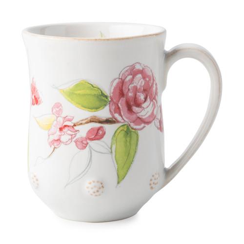 "Juliska Berry & Thread Floral Sketch Camellia Blossom Mug  FB06A/88 3.5""W, 4.5""H, 12oz A new take on our Berry & Thread Whitewash Mug, this mug has the exquisite addition of artistically designed Camellia flowers, providing plentiful depth for a robust coffee or warm tea."