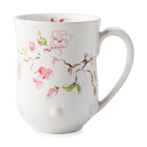 "Juliska Berry & Thread Floral Sketch Cherry Blossom Mug  FB06B/88 3.5""W, 4.5""H, 12oz  A new take on our Berry & Thread Whitewash Mug, this mug has the exquisite addition of artistically designed Cherry  flowers, providing plentiful depth for a robust coffee or warm tea."