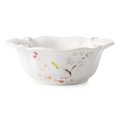 """Juliska Berry & Thread Floral Sketch Cherry Blossom Cereal/ Ice Cream Bowl  FB07B/88 7""""W, 3""""H From our Berry & Thread Collection, this subtly scalloped, deep cereal/ice cream bowl ties in our new Cherry Blossom imagery, perfect for piling your clusters of granola goodness or sundae accouterments to the very rim."""