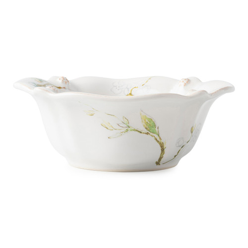 """Juliska Berry & Thread Floral Sketch Jasmine Cereal/ Ice Cream Bowl  FB07C/88 7""""W, 3""""H  From our Berry & Thread Collection, this subtly scalloped, deep cereal/ice cream bowl ties in our new Jasmine imagery, perfect for piling your clusters of granola goodness or sundae accouterments to the very rim."""