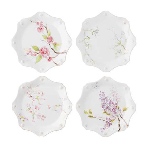 "Juliska Berry & Thread Floral Sketch Assorted Dessert/ Salad Plates Set/4  FB63SET/88 9""D Complete with Juliska's  thread and berries design, these charming, scalloped dessert/salad plates make for mix n' match fun in our new, lovely dinnerware blooms featuring jasmine, cherry blossom, camellia and wisteria flowers."