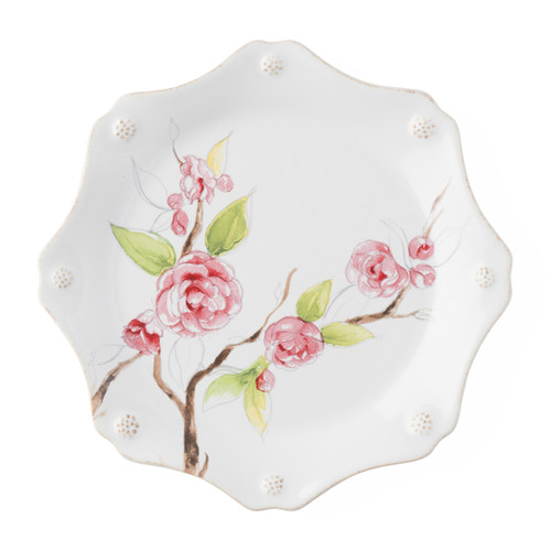 "Juliska Berry & Thread Floral Sketch Camellia Dessert/ Salad Plate  FB02A/88 9""D Complete with thread and berries design, this sweetly scalloped Camellia flower dessert/salad plate adds a burst of warm pink to the rest of your table setting."
