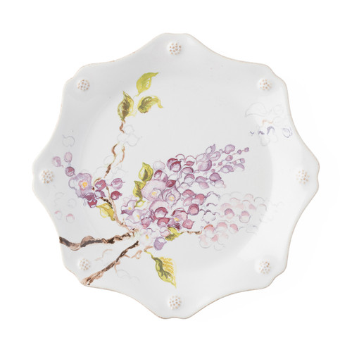 "Juliska Berry & Thread Floral Sketch Wisteria Dessert/ Salad Plate  FB02D/88 9""D  Complete with thread and berries design, this sweetly scalloped Wisteria flower dessert/salad plate adds a burst of warm pink to the rest of your table setting."