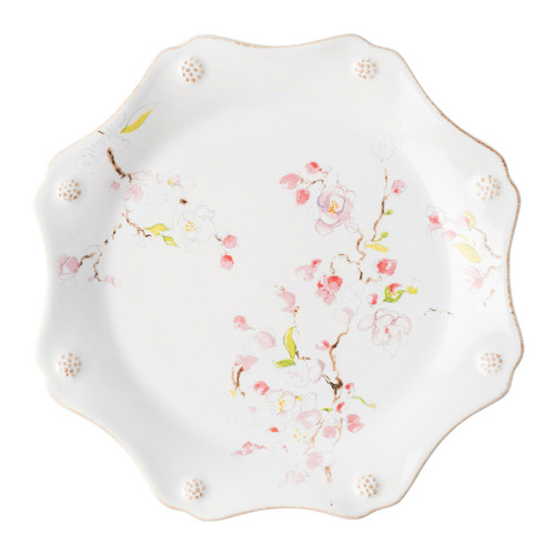 "Juliska Berry & Thread Floral Sketch Cherry Blossom Dessert/ Salad Plate FB02B/88 9""D  Complete with thread and berries design, this sweetly scalloped Cherry Blossom dessert/salad plate adds a burst of warm pink to the rest of your table setting."