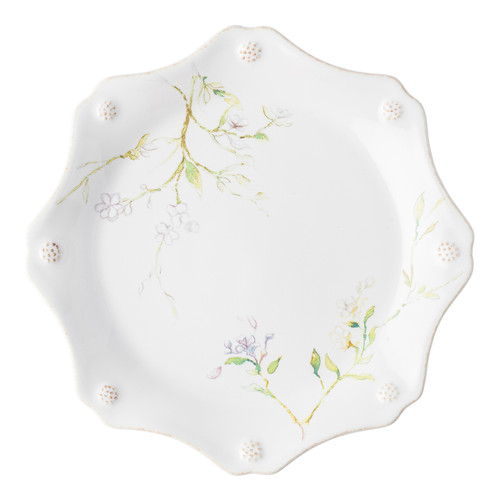 """Juliska Berry & Thread Floral Sketch Jasmine Dessert/ Salad Plate  FB02C/88 9""""D  Complete with thread and berries design, this sweetly scalloped Jasmine flower dessert/salad plate adds a burst of warm pink to the rest of your table setting."""