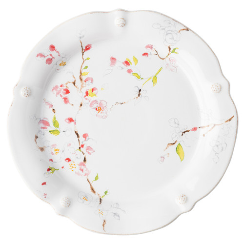 "Juliska Berry & Thread Floral Sketch Cherry Blossom Dinner Plate  FB01B/88 11""W A marriage between our subtle thread and berries motif and artistic depiction of cherry blossoms, this dinner plate has ample space for all your three-square meals to multi-taste treat occasions."