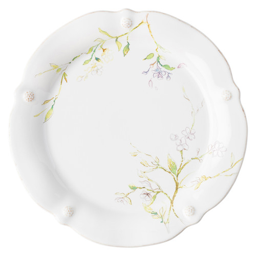 "Juliska Berry & Thread Floral Sketch Jasmine Dinner Plate  FB01C/88 11""W  A marriage between our subtle thread and berries motif and artistic depiction of Jasmine blossoms, this dinner plate has ample space for all your three-square meals to multi-taste treat occasions."