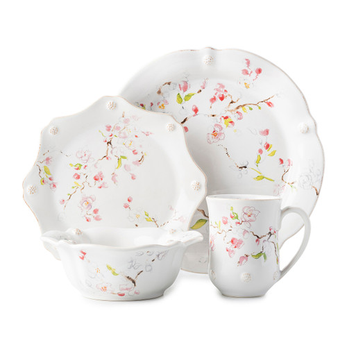 "Juliska Berry & Thread Floral Sketch Cherry Blossom 4pc Setting  FB40B/88  Japanese symbol for ""beauty of life"", the artfully depicted Cherry blossom is truly celebrated for its delicate grace in this dinnerware collection. Decorated with our subtle thread and berries motif, this new set includes dinner plate, dessert/salad plate, cereal/ice cream bowl and mug."