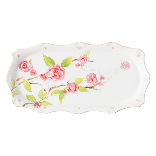 """Juliska Berry & Thread Floral Sketch Camellia Hostess Tray FB54XA/88  14""""L, 7""""W, 1.25""""H  A flowered take on the Berry & Thread Whitewash tray, this piece is an exquisite platform for perfumes on your bedroom vanity, finger sandwiches for high tea or serving centerpiece at the dining table."""