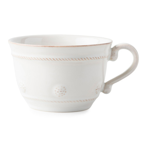 "Juliska Berry & Thread Whitewash Tea Cup  JA4/W 4.25""W, 2.75""H, 10oz  A sweet addition to our Berry & Thread family and your warm beverage cabinets, this whitewash tea cup is romantically detailed with our subtle thread and berries motif as a nod to our signature Bohemian glassware collection. Ready for your morning routine or afternoon coffee/tea, this quickly will become your warm sips companion."