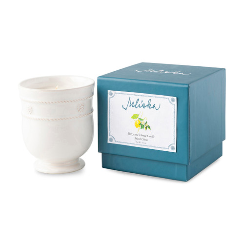 "Juliska Berry & Thread Kitchen Candle Spiced Citrus  JA125A/W 3.75""W, 4""H (11oz)  Featuring our signature Berry & Thread pattern, this new warm yet fresh scented candle not only comes elegantly gift boxed for a seamless gift, but will fill your home with invigorating comfort in its aroma."