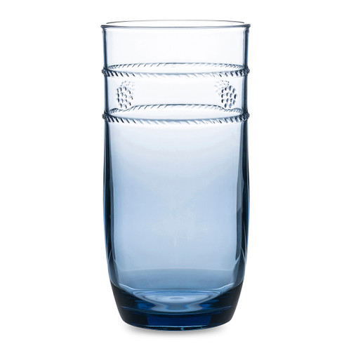 """Juliska Isanella Acrylic Blue Large Beverage Tumbler  MA303/46 3""""W, 6.5'H, 18oz  Chic yet casual, these dreamy blue beverage glasses are the perfect, long-lasting vessel for any occasion, reminiscent of days spent pool or beach side with cool beverage in hand."""