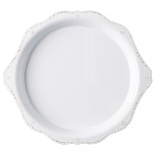 """Juliska Berry & Thread Melamine 17"""" Round Platter MA10/100 17""""L, 15.5""""W, 1.5""""H From our Berry & Thread Al Fresco Collection, this durable serving platter with flirty scalloped edge can hold everything from deviled eggs and cheese n' crackers to cookies and chocolate covered strawberries, all thanks to its both shape and 17"""" diameter."""