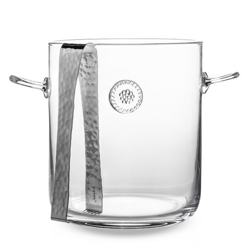 """Juliska Berry & Thread Ice Bucket with Tongs B721/C 6.5""""W, 7.5""""H, 3.5Qt From our Berry & Thread Collection, this Bohemian blown glass ice bucket with tongs is both transitional and practical to keep your bubbly or vino chilled and ready to serve. Complete with our handsome Berry & Thread medallion in the center, this piece is unmistakably classic at any function."""
