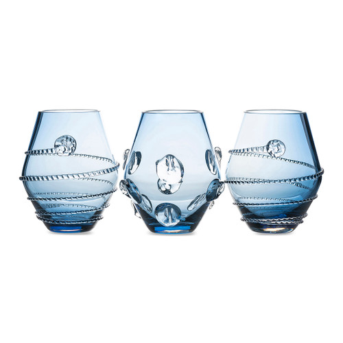 """Juliska Assorted Mini Blue Vases Set/3 BH6/B 2.75""""W, 3.75""""H 4oz  A trio of petite, blue Florence and Amalia Bohemian glass vases, fun to arrange as a centerpiece or add a select joyful blooms to brighten your living spaces."""