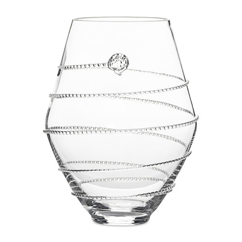 "Juliska Amalia 6"" Clear Vase B454/C 4.5""W, 6""H, 22oz Part of Juliska's Amalia Collection, this petite, curvaceous vase finished with signature spiral is pleasant for smaller blooms or can even double as a decorative vessel for small candies."
