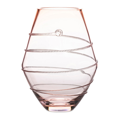 "Juliska Amalia 11"" Pink Vase B452/P 7.25""W, 11""H, 625J Qt  Part of Juliska's Amalia Collection in sophisticated, rosy pink, this uniquely, rounded vase adds a warm glow to your bedside or perched in a powder room."