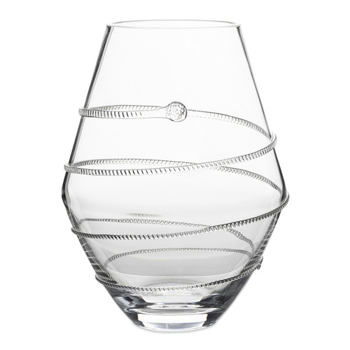"Juliskaa Amalia 11"" Clear Vase B452/C 7.25""W, 11""H, 6.25 Qt Part of our Amalia Collection, this uniquely rounded vase with signature spiral is just the right size for a delicate bouquet next to your bedside or perched in a powder room."