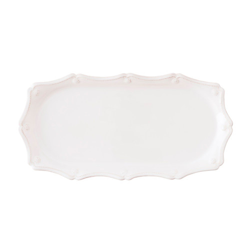 """Juliska Berry & Thread Whitewash Hostess Tray JA54X/W 14""""L, 7""""W From Juliska's Berry & Thread Collection - From passing canapes as guests arrive, to displaying a collection of perfumes on a dresser to desktop catchall for handwritten notes this tray is both elegant and versatile.  Order today from plumpuddingkitchen.com!"""