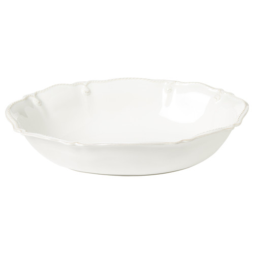 """Juliska Berry & Thread Whitewash 12"""" Oval Serving Bowl JA98/W 12""""L, 8.8""""W, 1.5 Qt From Juliska's Berry & Thread Collection - Filled with seashells or a side dish, this lovely bowl will become a mainstay piece for your entertaining repertoire. Subtly embellished with fluting and our classic berry and thread motif, this bowl is beautifully useful anywhere and for all seasons - from entry table, to kitchen counter-top, to dining table.  Order now from plumpuddingkitchen.com!"""
