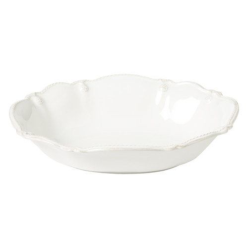 """Juliska Berry & Thread Whitewash 10"""" Oval Serving Bowl JA99/W 10""""L, 7.5""""W, 24 oz From Juliska's Berry & Thread Collection - Filled with seashells or a side dish, this lovely bowl will become a mainstay piece for your entertaining repertoire. Subtly embellished with fluting and our classic berry and thread motif, this bowl from plumpuddingkitchen.com  is beautifully useful anywhere and for all seasons - from entry table, to kitchen counter-top, to dining table."""