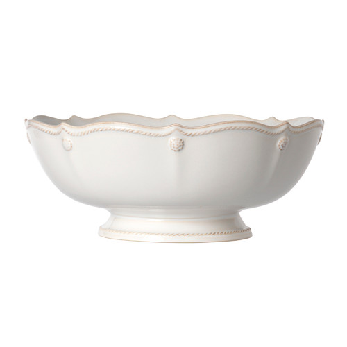 """Juliska Berry & Thread Whitewash Footed Fruit Bowl JA95/W 11""""W, 4.5""""H, 3.25 Qt From Juliska's  Berry & Thread Collection - Whether used as a centerpiece or a serving piece, our footed fruit bowl makes the perfect statement.  Timeless in white, its scalloped edge and signature berry and thread motif provide a subtle backdrop for the contents within.  Ships free from plumpuddingkitchen.com"""