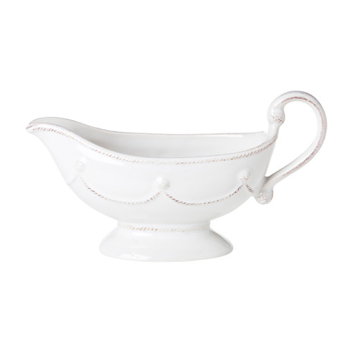"""Juliska Berry & Thread Whitewash Sauce Boat  JA30/W 8.5""""W, 3""""H, 8oz  From Juliska's Berry & Thread Collection - Pour on the charm with this sophisticated vessel that is festooned with festive garlands and studded in berries.  What a great gift idea from plumpuddingkitchen.com"""
