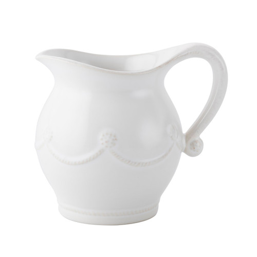 """Juliska Berry & Thread Whitewash Creamer JA26/W 5""""H, 16oz From Juliska's Berry & Thread Collection - A charming companion to our lidded sugar pot, this pitcher will add a splash of cream to your coffee or tea and a dash of effortless style to your daily routine."""