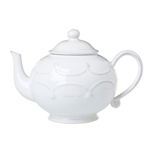 """Juliska Berry & Thread Whitewash Teapot JA25/W 10.5""""W, 7.5""""H, 1.25 Qt From Juliska's Berry & Thread Collection - Soothe spirits with the timeless ritual of tea. Our rotund teapot is clad in joyful garlands for an enduringly classic look that mixes seamlessly with all of our collections.  Ships free from plumpuddingkitchen.com!"""