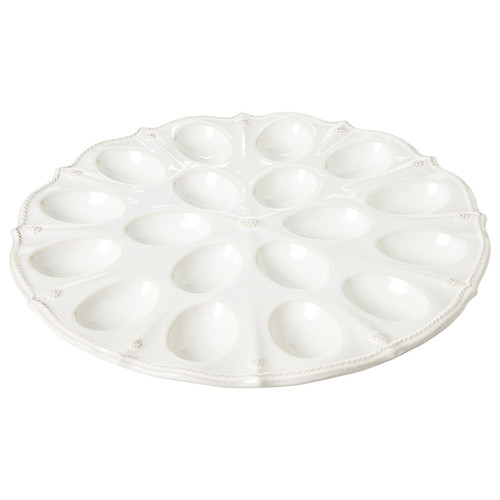"""Juliska Berry & Thread Whitewash Deviled Egg Platter JA96/W 13.75"""" D From Juliska's Berry & Thread Collection - Display your Deviled Eggs in this platter that boasts a scalloped rim replete with our rustic thread and berry motif, and take it to your next potluck."""