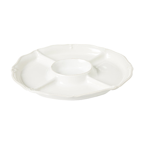 """Juliska Berry & Thread Whitewash Crudité Platter JA97/W 15.25""""L, 12.25""""W From Juliska's Berry & Thread Collection - With a handy center vessel for dipping and four compartments trimmed with a scalloped edge, and our thread and berry motif, this platter elevates the humble crudité offering to something much more elegant. Set against our luxe whitewash backdrop, whipping up a beautiful appetizer is a snap - we like to play with the season's brightest stars to create a vibrant palette of color - from spring radishes to whimsical pea tendrils and deep purple carrots."""