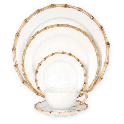 Juliska Classic Bamboo Natural 5pc Setting KM29/34  From Juliska's Classic Bamboo Collection- Bringing a sense of naturalistic glamour to your dinner table, our Bamboo five piece setting contains a dinner plate, dessert/salad plate, side/cocktail plate, tea/coffee cup and saucer.