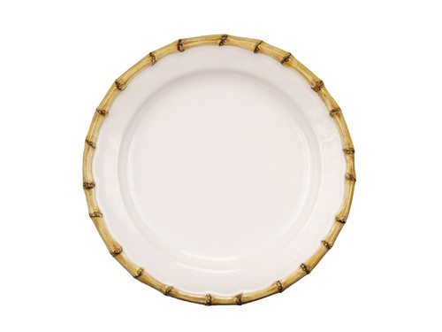 """Juliska Classic Bamboo Natural Dessert/Salad Plate KM02/34 9""""D From Juliska's Classic Bamboo Collection- Sweet sophistication rules the day with this chic plate. Rustically refined bamboo pairs perfectly with ripe figs stuffed with fresh ricotta and drizzled with honey for an after dinner treat served under a canopy of stars. The bamboo trim is at once rustic, chic and polished - perfect for any cuisine."""