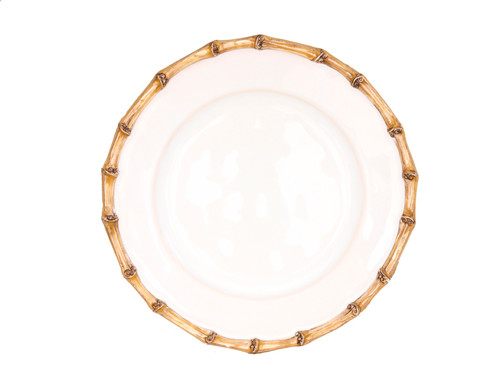 """Juliska Classic Bamboo Natural Side/Cocktail Plate KM03/34 7.5""""D From Juliska's Classic Bamboo Collection- This companion plate adds an extra lovely layer to table settings. Our classic bamboo rim pays homage to tradition while a salad served with edible petals adds a modern twist"""